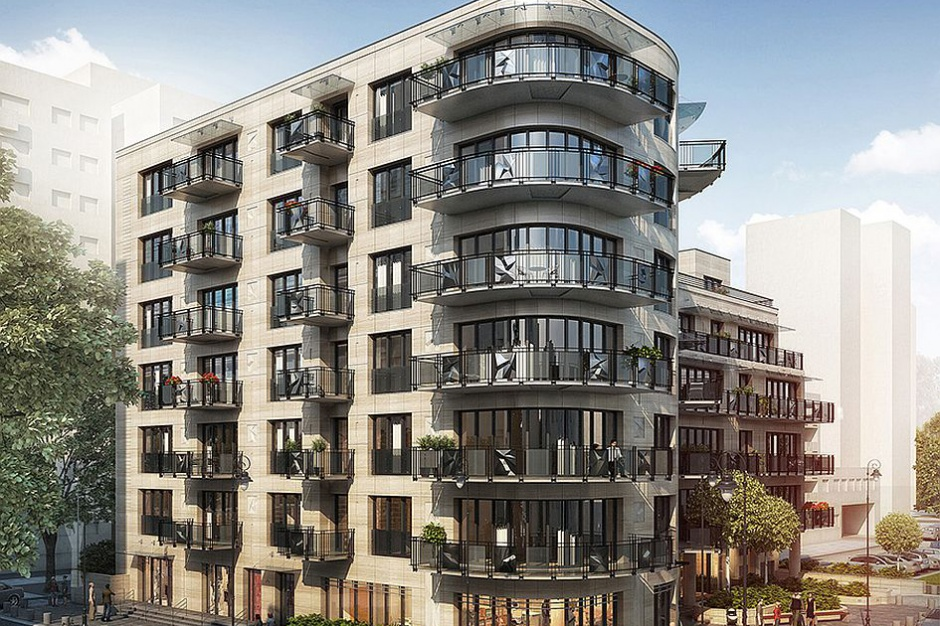 Apartamenty Huculska 5 wkrótce z elewacją z trawertynu