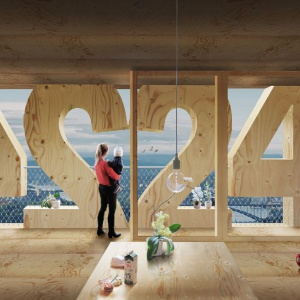 Drewniany apartamentowiec z numerkami na fasadzie