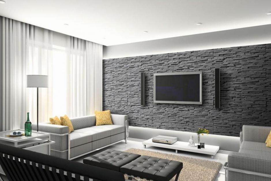 Kamień dekoracyjny na ścianach w salonie