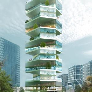 Writhing Tower. Skręcona apartamentowa wieża z widokiem na ocean
