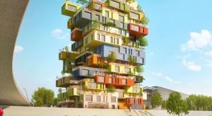 Apartamentowiec w kształcie wieży z klocków