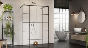 Czarne kabiny prysznicowe