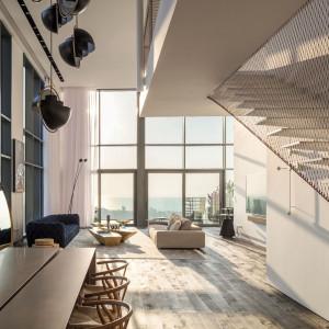 Minimalistyczna aranżacja trzypoziomowego apartamentu w Tel Avivie