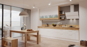Między kuchnią a salonem: stół w komplecie z zabudową meblową