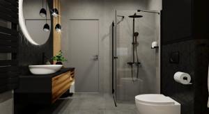 Stylowa łazienka. Czerń i grafit we wnętrzu
