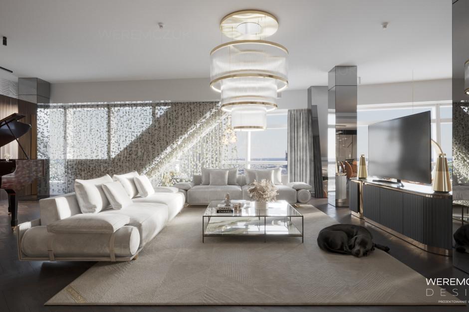 Wnętrze projektu Weremczuk Design. Złota 44 prezentuje wizualizację apartamentu