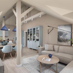 Mieszkanie na poddaszu w odcieniach błękitu. Nowa realizacja Fabryk-Art